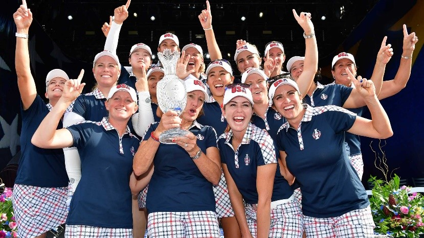 us ladies golf team celebrates solheim cup win after defeating europe